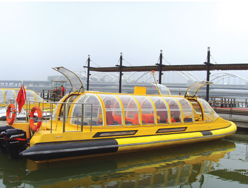 China 32ft 28 Seater FRP Yellow Color Water Taxi Boat For Sale